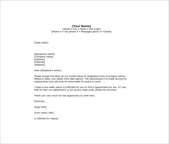 resignation letter with 2 week notice template