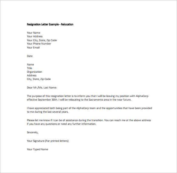 Resignation Letter Sample Pdf from bestresignationletter.com