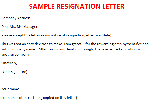 sample resignation letter with reason