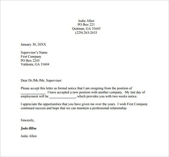 Best Resignation Letter This Site Provides That About Resignation