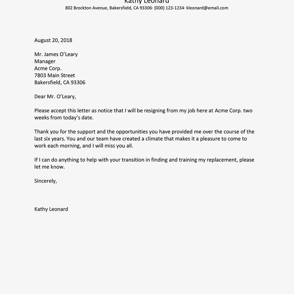 Example Of Exit Letter from bestresignationletter.com