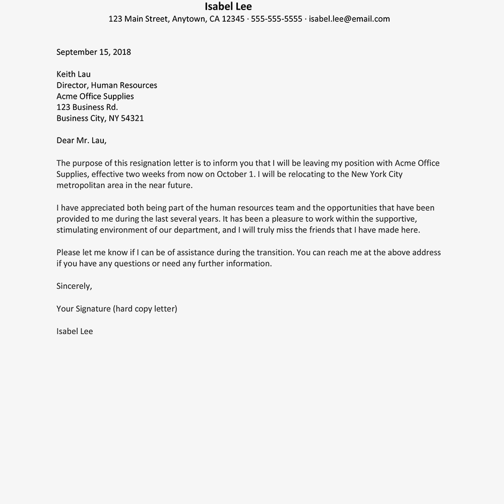 Resignation Letter due to Moving