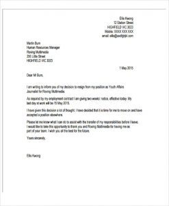Resignation Letter due to New Job