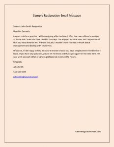 Sample Resignation Email Message