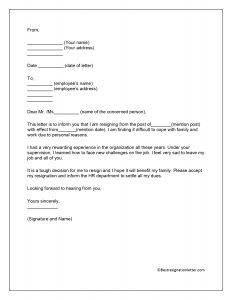 immediate resignation letter for personal reasons Template