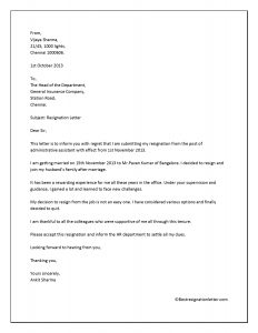 resignation letter with immediate effect for personal reasons