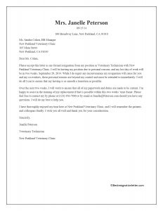sample of immediate resignation letter for personal reasons