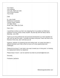 Sample Resignation Letter with Reason for Leaving